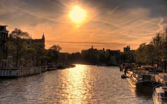 закат, лодки, amsterdam, sun, дома, река, город, со,