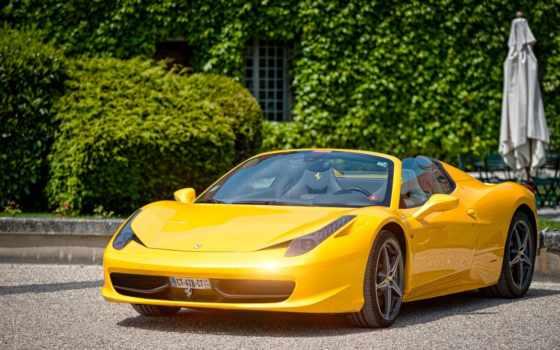 ferrari, паук, супер, yellow, italia, автомобилями, множество, оранжевый, суперкар,