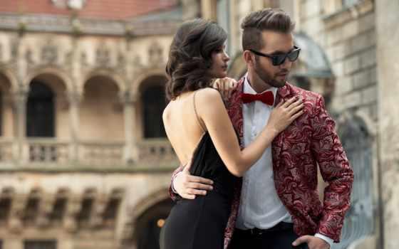 pair, город, гламурные, fone, стоит, элегантная, обнявшись, старинного, замка, love,