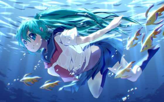 anime, underwater, волосы, blue, hatsune, девушка, fish, vocaloid