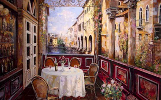 flower, cart, art, paintings