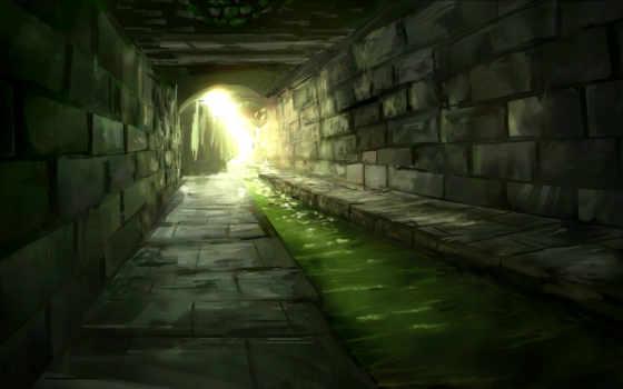 канализация, туннель, water, свет, солнечные, лучи, дек, камень, река,