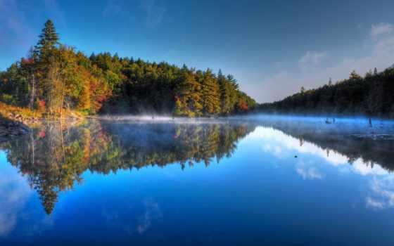 туман, природа, утро, озеро, небо, осінь, картинка, skrivebordet, леса, gratis,