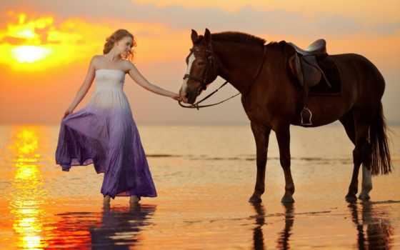девушка, море, платье, закат, лошадь, моря, лошади, zhivotnye, солнца, побережье,