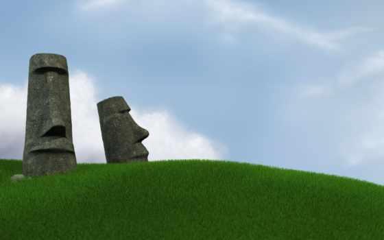 moai, pâques, ecran, fond, gratis, toneladas, calidad, celebrations, pantalla, descargar