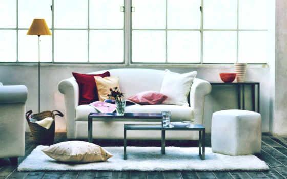букет, ваза, уют, лампа, подушки, диван, картинка, living, огромное, окно, design, белый, досок, пол, home, designs, мебельный, desktop, modern, карт,