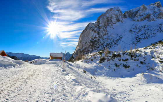 небо, снег, природа