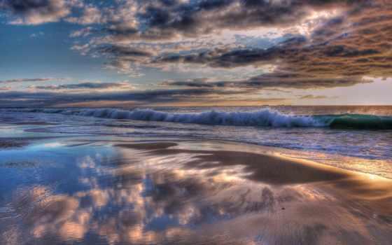 zakat, oblaka, океан, берег, индийский, voda, тучи, волны,