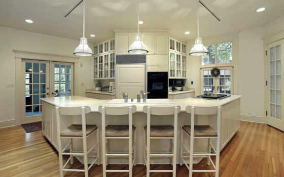 kitchen, большая, белая, design, rack, паркет, кухни, интерьер,