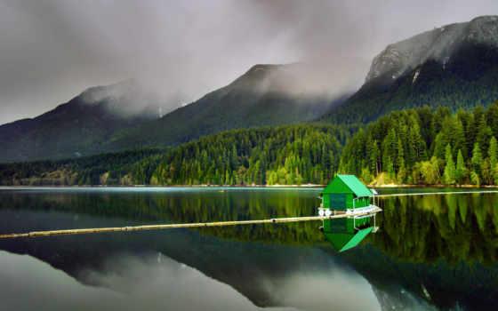 горы, природа, full, landscape, озеро,