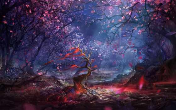 fantasy, лес, trees, landscape, графика, пронизанный, art, магия, солнечными, цветение,