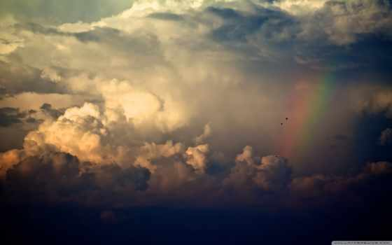 радуга, oblaka, небо, красивые, дождь, птицы, сквозь, облако, со,