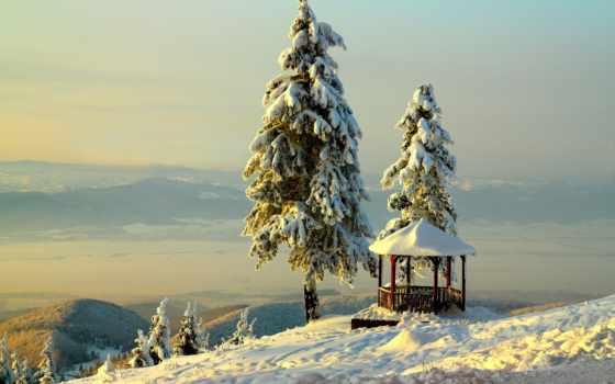 гора, winter, снег, беседка, елка, небо, лес