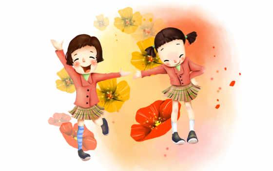 нарисованные, дети, девочки, цветы, мак, радость