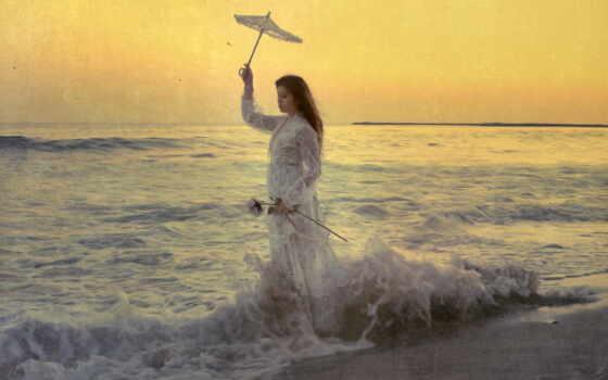 море, девушка, стиль, волны, зонтик,