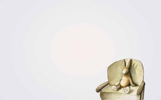 свет, заяц, кролик, минимализм, сидит, широкоформатные, диван,