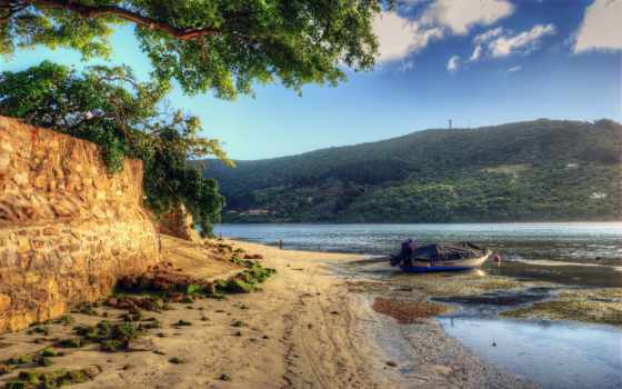 лодка, берег, woda, łódka, piasek, water, drzewa, река, rzeka, plaża,