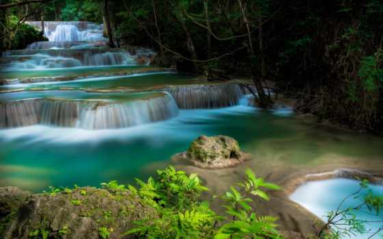 tapety, krajobraz, wodospad, drzewa, kaskada, zieleń, pulpit, free, park,