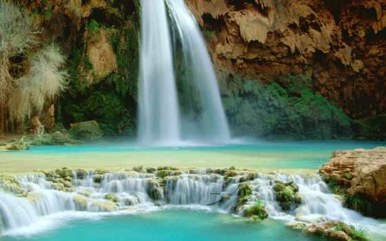 водопад, falls, havasu, arizona, красивых, красивый, supai, водопадов, каньоне, находится,