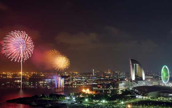 new, год, япония, firework, праздник, building, ночь, огни, небо