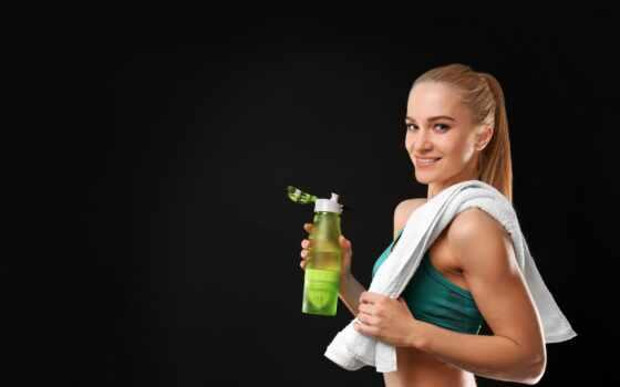 девушка, фитнес, бутылка, спорт, sports, black, улыбка, молодой, athletic, женский