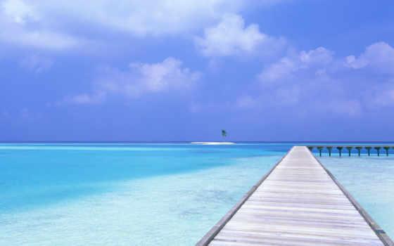 blue, небо, пляж