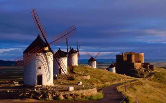 испания, toledo, консуэгре, мельницы, испании, mancha, ветряные,