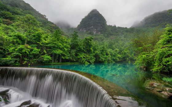 китаянка, природа, лес, водопад, горы, туры, река, китая, туман, china,