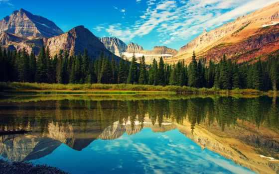 montana, national, glacier, park, озеро, state, mountains, сша, usa,