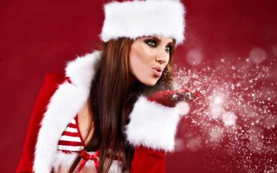 new, год, christmas, девушка, снег, картинка, праздник, decoration,