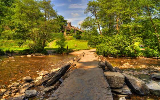 exmoor, природа, park, скалы, national, паркс, ручей, united, kingdom, кусты, trees,