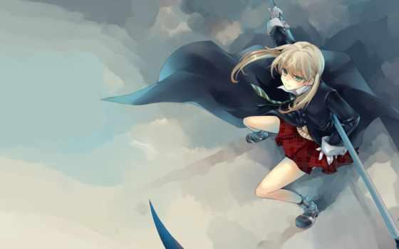 anime, девушка, косой, art, девушек, мака, категории, оружие, дневнике, картинка,