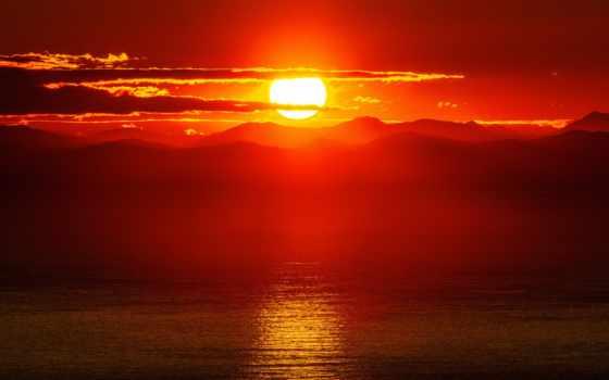 сол, mac, sun, гора, закат