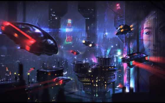 cyberpunk, машина, art, город, john, konfucus