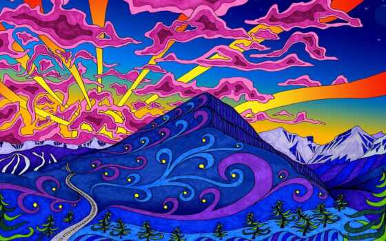 психоделика, art, гора, landscape, print, inch, плакат, home, canvas, стена, decoration