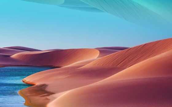 пустыня, закат, озеро, galaxy, фон, dune, blue, небо, hot, день