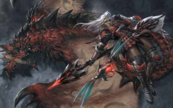 hunter, monster, art, арта, красивый, glaive, насекомое, девушка, fantasy, game, дракон