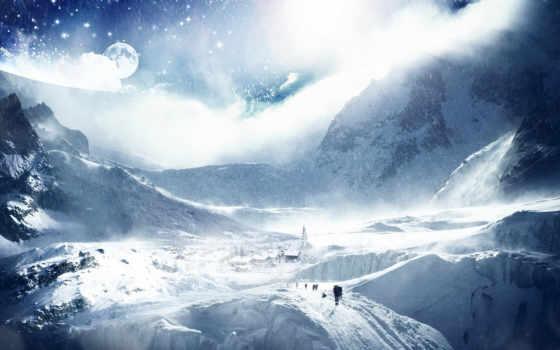 горы, downed, дорога, full, луна, creative, design, городок, fantasy, codine, снег, bottle, скалы, люди, oz, картинку, after, природа, kış, keyword, resimleri, computer, screensavers,