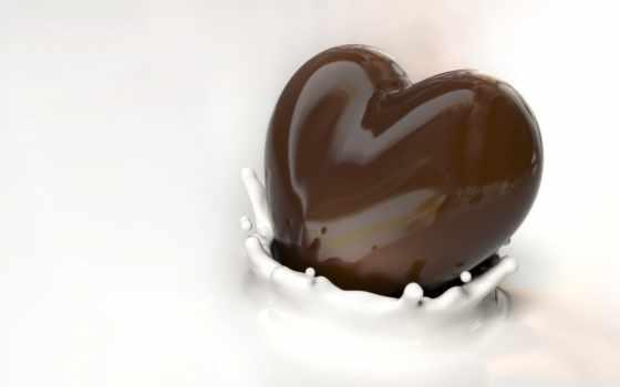 шоколад, сердце, фигура, молоко, брызги, блеск