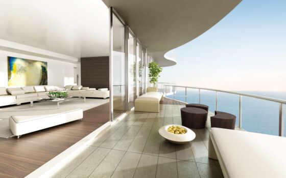 комната, more, видом, балкон, стильным, комнаты,