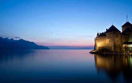 горы, замок, озеро
