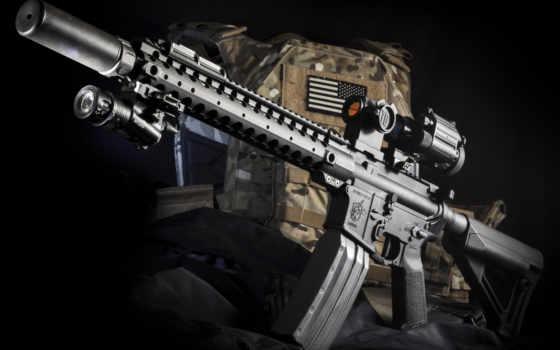 оружие, винтовка, снайперская, stoner, глушитель, оптика, фонарь
