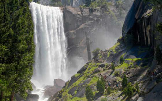 yosemite, national, vernal, пасть, park, водопад, trail, mist, falls, nevada,