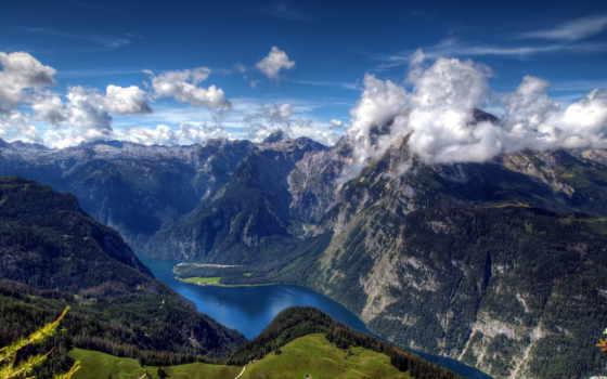 горы, река, height, königssee, oblaka, cvety, музыка, reki, небо, горные,