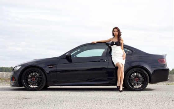 bmw, девушка, колеса, красивая, платье, волосы, диски,