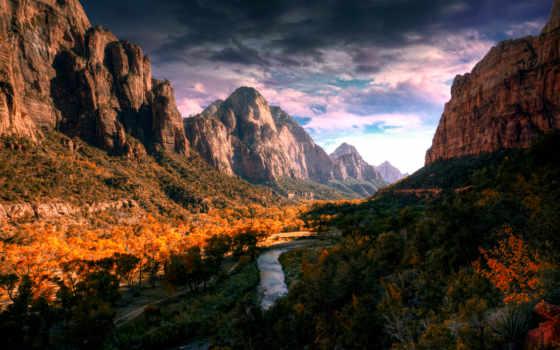 горная, между, zion, reki, landscapes, река, фотографий, park, красивые, гор,