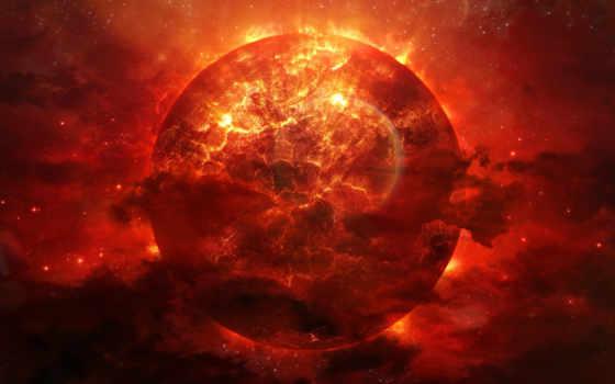 планета, разломы, трещины, арт, космос, взрыв, alienphysique, katherl, hannes, огонь, красная, туманность, энергия, катострофа,