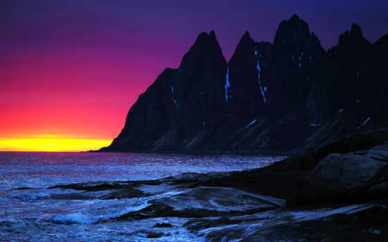закат, горы, скалы