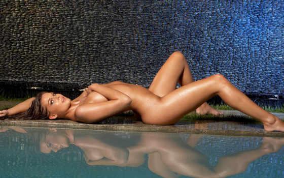 девушка, голая, лежит, мокрая, бассейн, devushki,