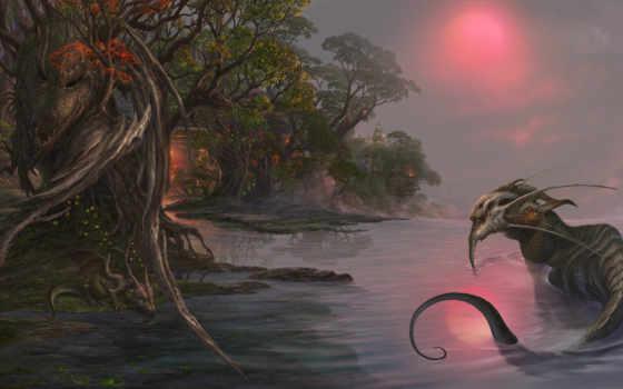 дракон, ночь, art, фэнтези, призраками, луна, лес, унесенные, широкоформатные, горы,